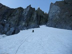 2011-09-03 - 03a - Leading up the snowfield with one axe and no crampons - by Chris Terry